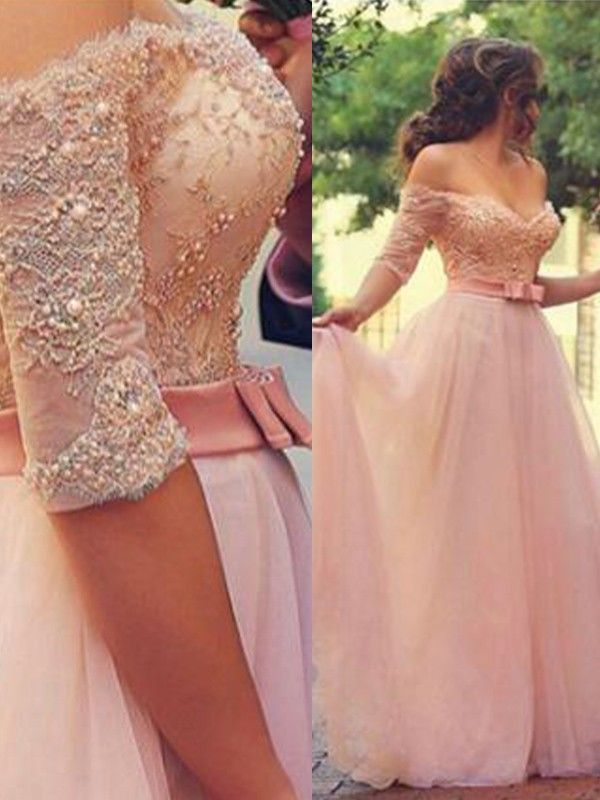 8f80fe5f254 Stunning A-Line Off-the-Shoulder Cut Tulle Long Dresses With Lace - Gloryava  Online