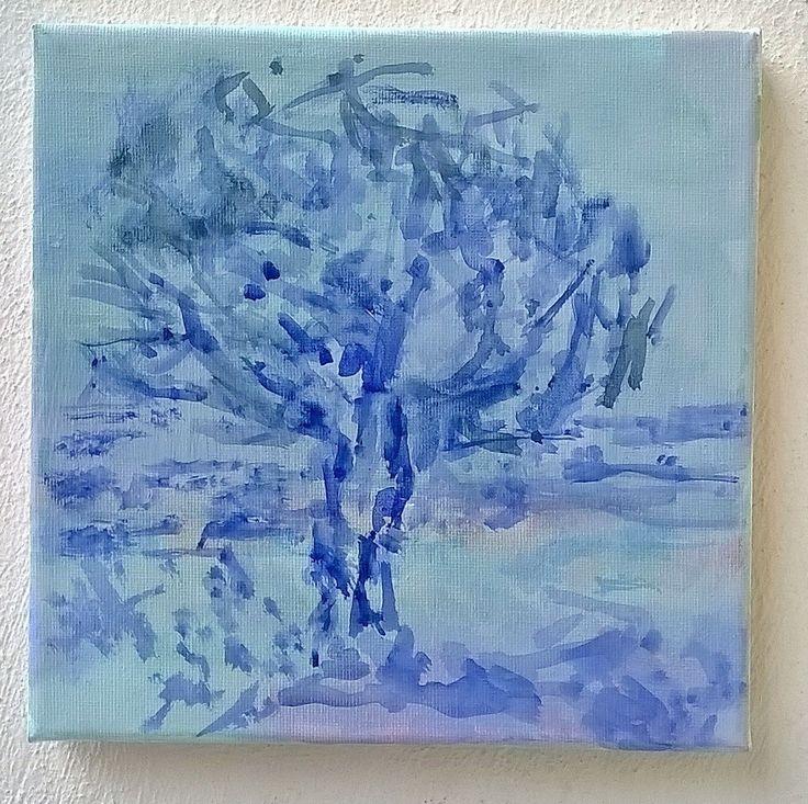 Tree by the sea. Acrylic on canvas. Painting by May Kotsana