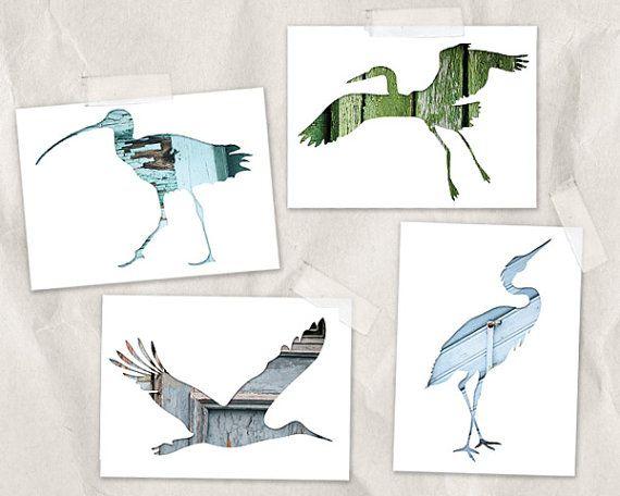 bird postcard set, bird silhouette art 4x6, set of 4, green, gray, blue, sandpiper, crane, stork print, whimsical animal art, woodland decor