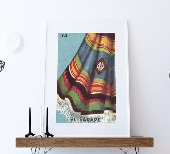Loteria El Sarape Mexican Retro Illustration Art Print Vintage Giclee on Cotton Canvas or Paper Canvas Poster Wall Decor  #homedecor #retro #art #homedecorideas #wallart #mexicanart #mexicanfolkart #loteriaprint #artprint #giclee #art #bingo #hand #handmade #print #mexicanfolkart #kitch #vintage #largegiclee #etsy #ElSarapeprint #cherry #ElSarapeloteria #loteria #etsy #ElSarape #blanket #poncho