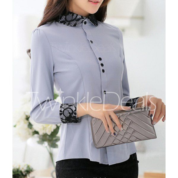 Trendy Style Turn-Down Collar Lace Splicing Long Sleeve Women's Blouse