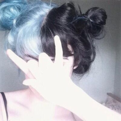 Half baby blue half black hair