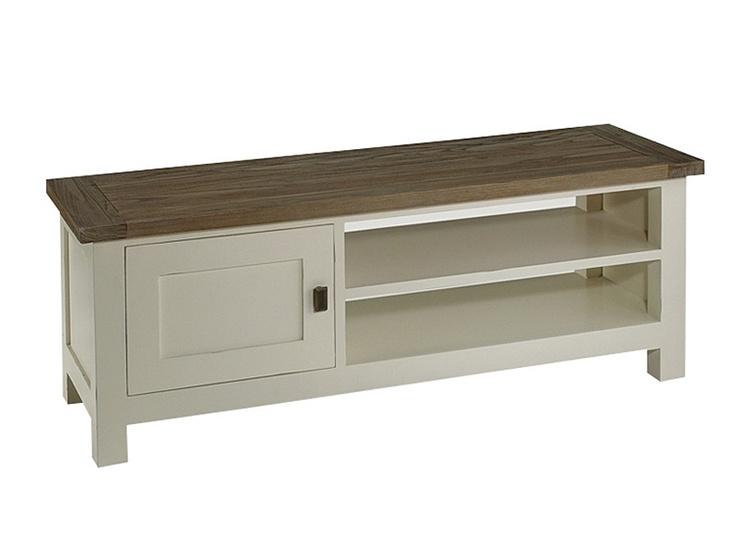 Muebles de televisión vintage con 1 puerta y 2 baldas. Medidas: 120x40xH45. Realizado en madera de teca con acabado en color blanco roto y tapa en color natural.