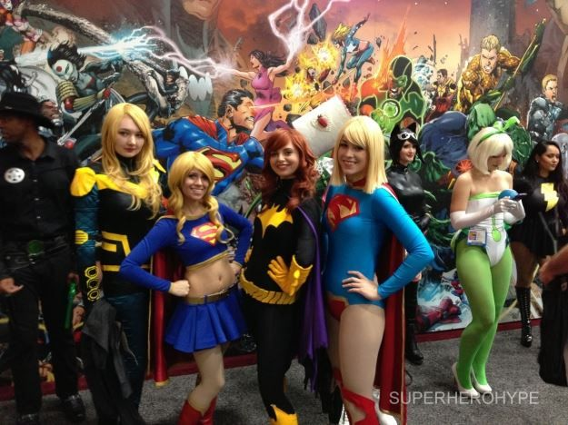 How to get cheap labor for a trade show in Cali....drive down Sunset blvd., pick up some hookers, slap some stupid DC comic costumes on them.