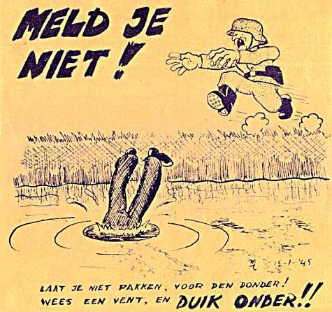 hier zie je een poster die de joden zouden moeten helpen om te onderduiken en niet bang zijn voor de Duitsers.