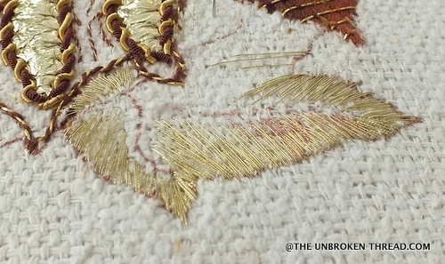 Gold leaf - shading with two colors of Kreinik Cord