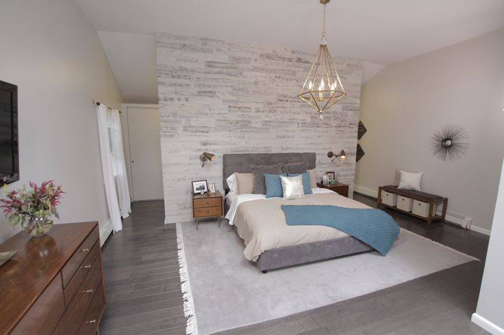Marc and Ashleigh's master bedroom from Property Brothers showcases the Savoy House Tekoa pendant!