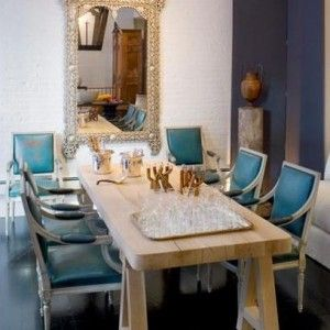 Mother of pearl mirror, Dining room