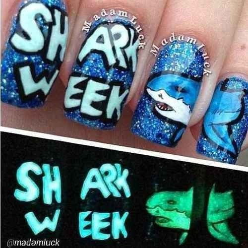 Shark week nails