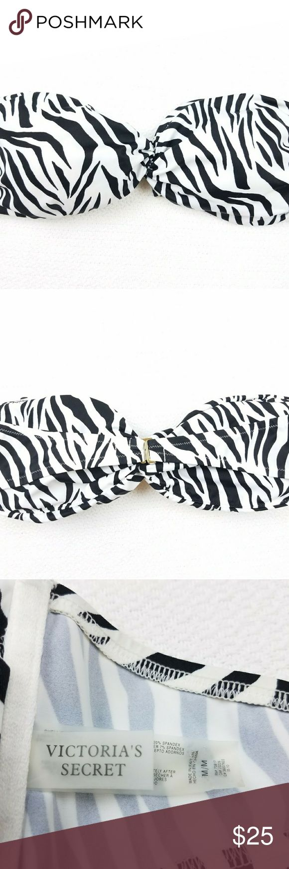 Victoria's Secret Zebra Bandeau Bikini Top Zebra Animal Print  Perfect Condition  Size Medium Victoria's Secret Swim Bikinis