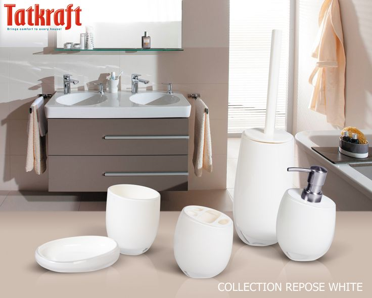 white bathroom accessories uk collection repose white from tatkraft amazon uk acrylic - White Bathroom Accessories Uk