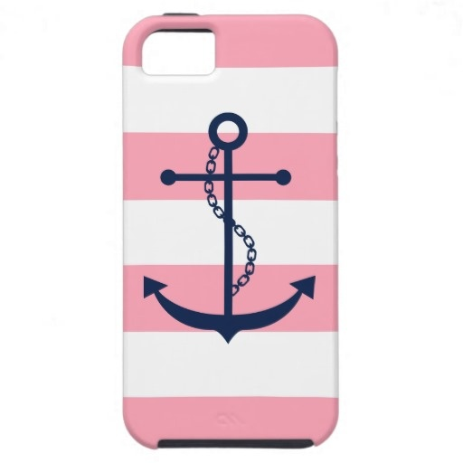 White Blue and Pink Stripes Pattern Anchor iPhone 5 Cover #nautical