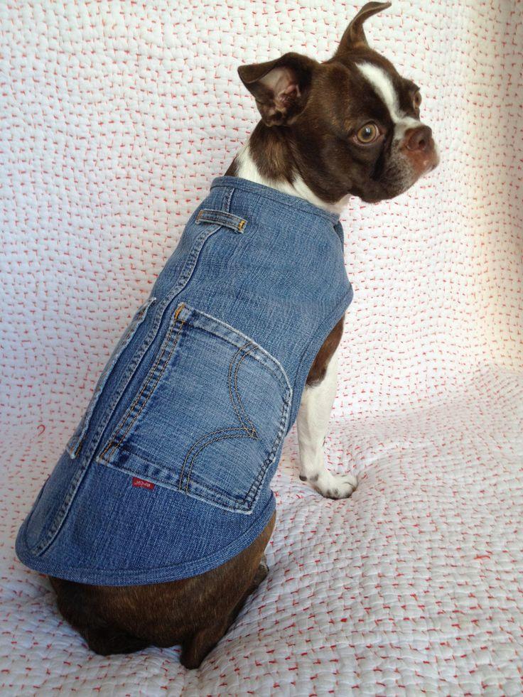 Custom upcycled denim dog coat.