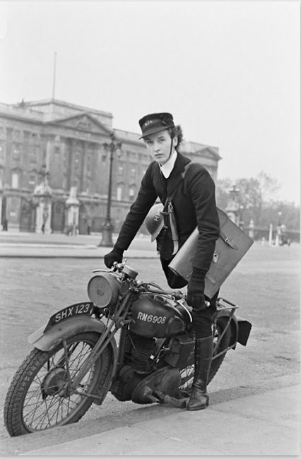 Female Dispatch Riders. My partner's grandmother was a dispatch motorcycle rider. One occasion, she rode through the streets in the dark during a bombing raid. A heroine!