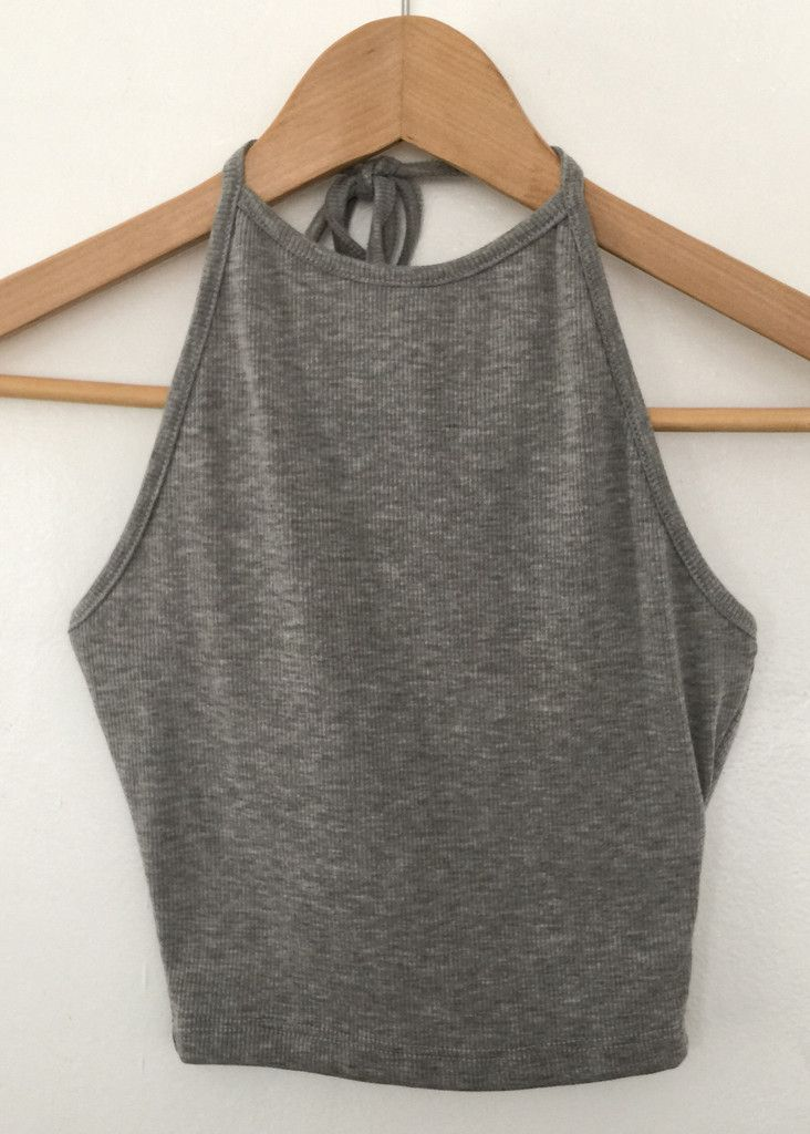 grey rib halter crop top $10 i want to get fabric transfers and iron 5sos stuff onto this