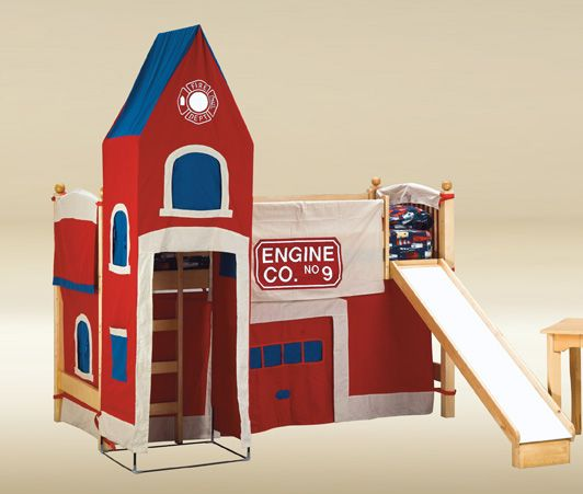 Wood Twin Loft Bed w/ Fire Station Tent. So fun!!! My boys would LOVE this!!!