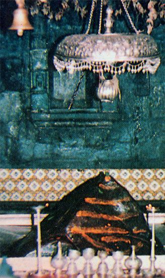 Kedar Lingam-Kedarnath is the biggest of the temples and the most popular. The Shiva Lingam (sign of Shiva) here is a natural rock in the shape of a buffalo's hump. Rudranath is the place where his face appeared, Madmaheswar is where his navel is said to have fallen, his arms appeared at Tunganath and his tresses at Kalpeshwar.