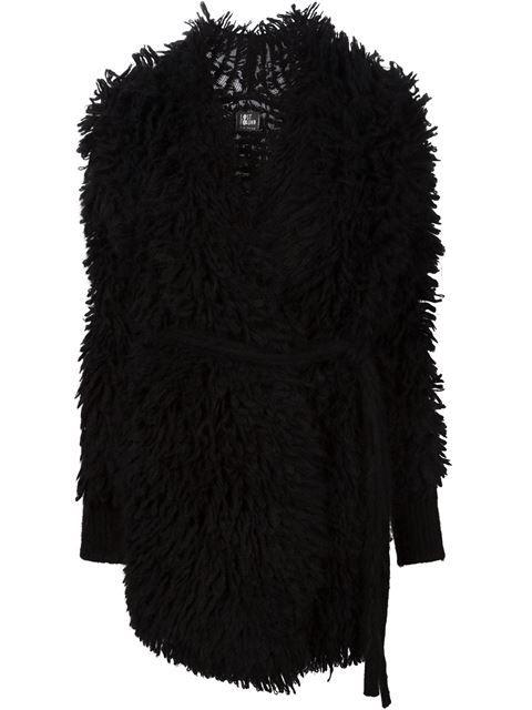 Черное фактурное пальто-кардиган из микса шерсти, хлопка и ангоры с поясом от Lost And Found.
