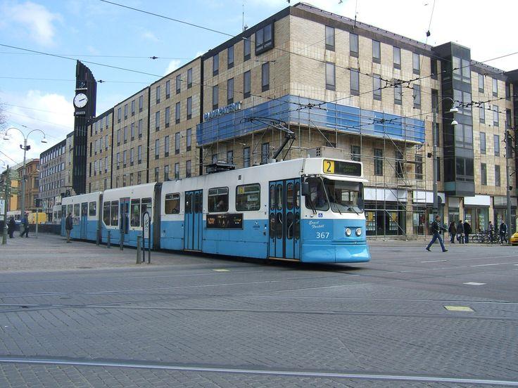 #A tram running at Brunnsparken in central Gothenburg