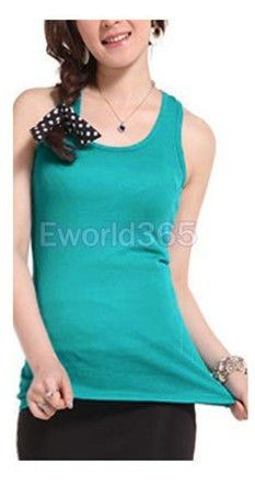Solid Color Cotton Cami Vest T-Shirts Tops Sleeveless 16 Colors