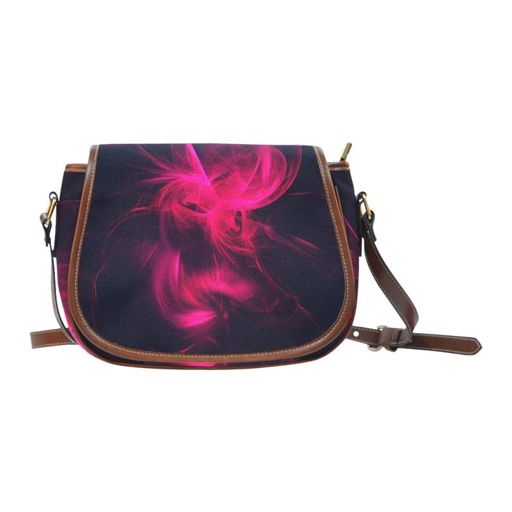 Pink Flame Fractal Saddle Bag/Small Saddle Bag/Small (Model 1649) by Tracey Lee Art Designs