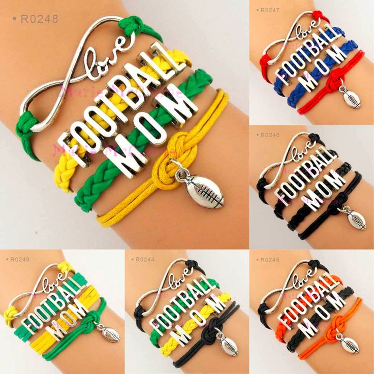 (10 pieces/lot) Infinity Love Football Mom Charm Bracelet Football Team Bracelet Green Yellow Red Blue Orange Black Leather