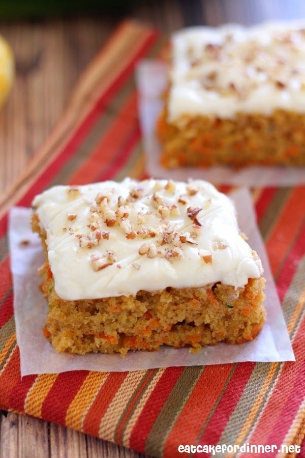 Eat Cake For Dinner: Carrot and Zucchini Bars with Lemon Cream Cheese Frosting
