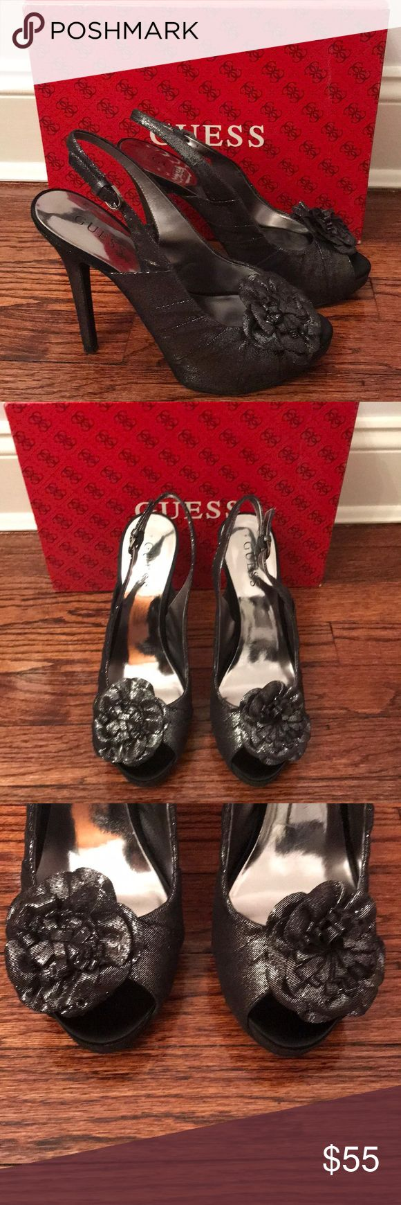Guess Shoes Mint condition heels. Only worn a couple of times. No scratches or signs of wear. Pretty flower detail. Box included. Guess Shoes Heels