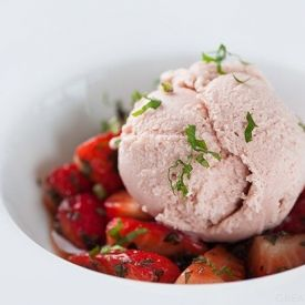 """""""Strawberry ice cream is the ultimate summer treat. Try Graham Campbell's sumptuous recipe, which comes served with cream"""