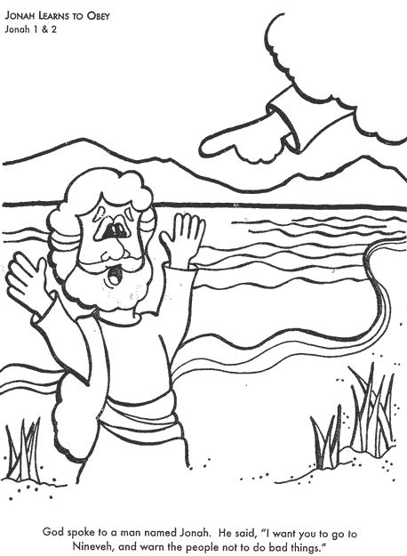 Jonah Learns to Obey God Bible coloring page for Kids to