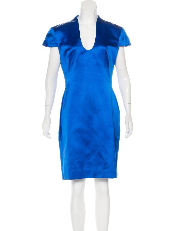 Cobalt blue Alexander McQueen silk short sleeve midi dress with cap sleeves, scoop neckline, seam slit at back and concealed zip closure at nape.