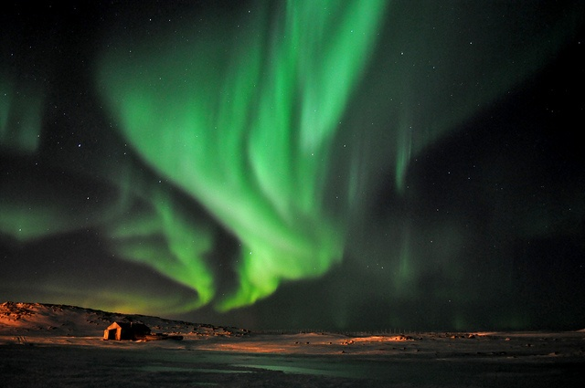 Northern lights over the Northern village of Quaqtaq, Québec, Canada by SkaBR, via Flickr