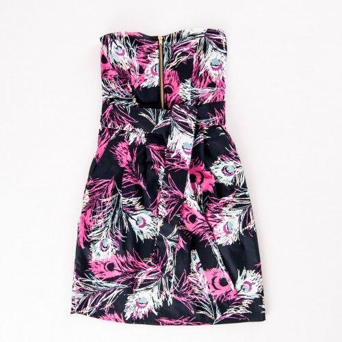 Mini abito in cotone stile spagnolo fantasia piume