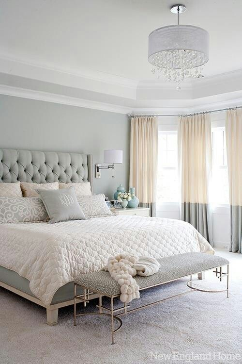 Love the tufted headboard and monogrammed pillow