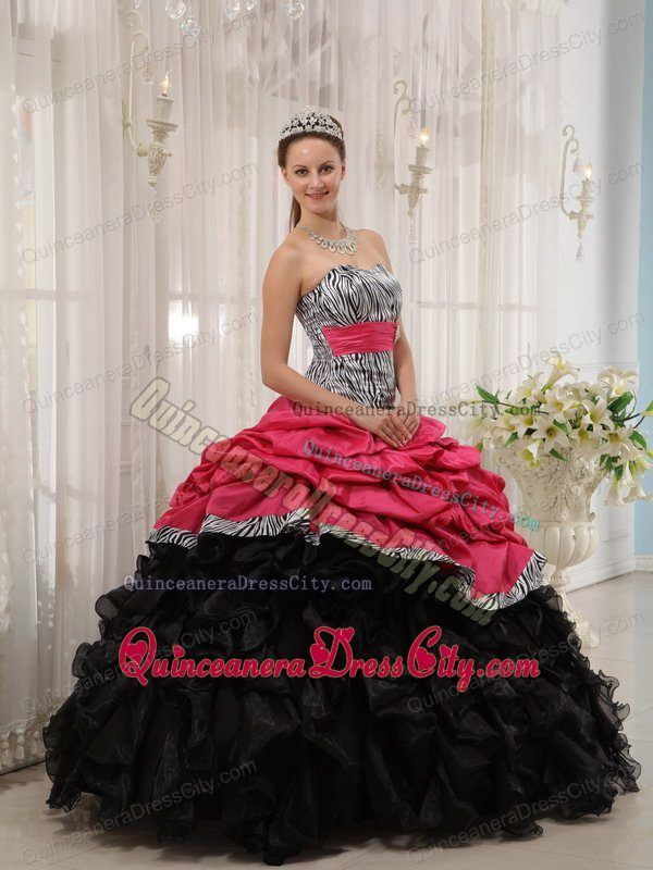 2013 Pick ups Ruffles Zebra Quinceanera Gowns in Black and Red - http://m.quinceaneradresscity.com