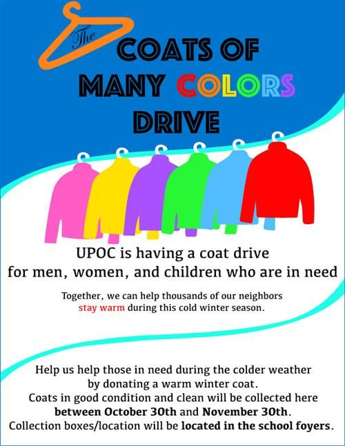 Natalie Geriot  UPOC Coat Drive Poster Design  Leslie Taylor's Graphic Design 3 Class, Strath Haven High School