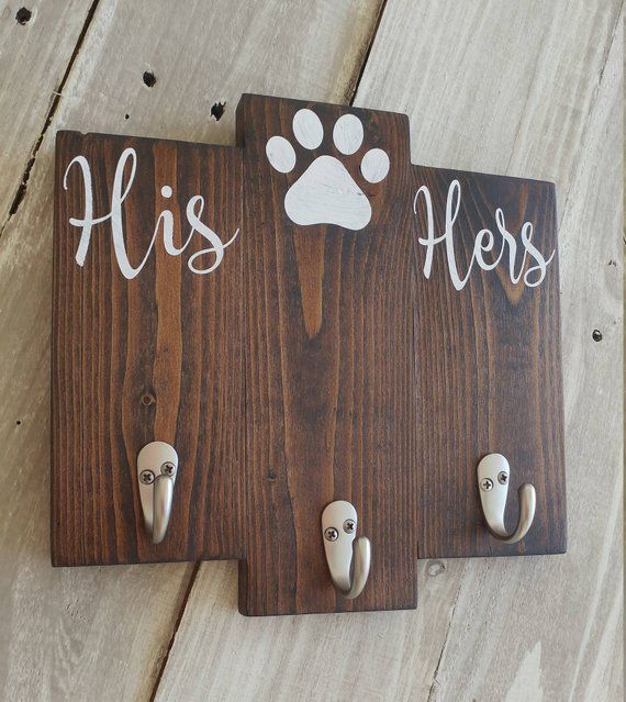 His Hers Dog Key And Leash Holder Couple Wedding Gift Entryway Key Hooks Dog Leash Holder Home Gifts Wedding Gifts For Couples