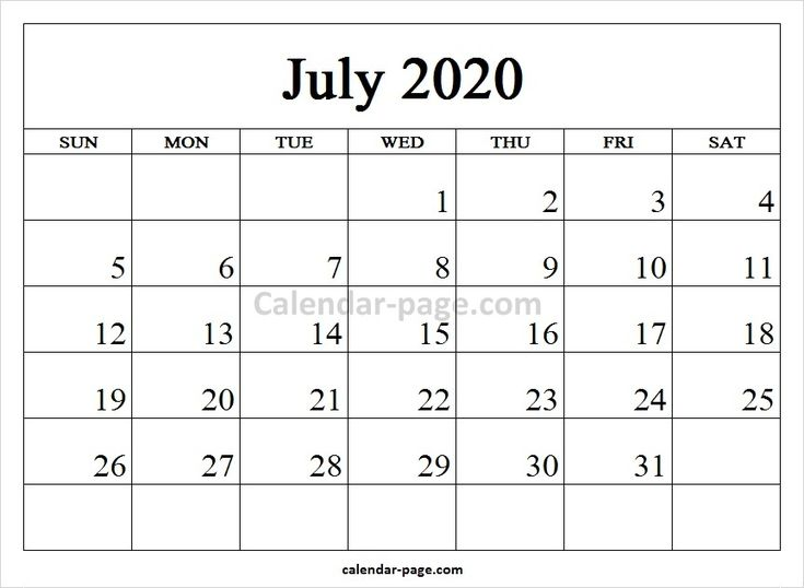 Blank Printable July Calendar 2020 to Print