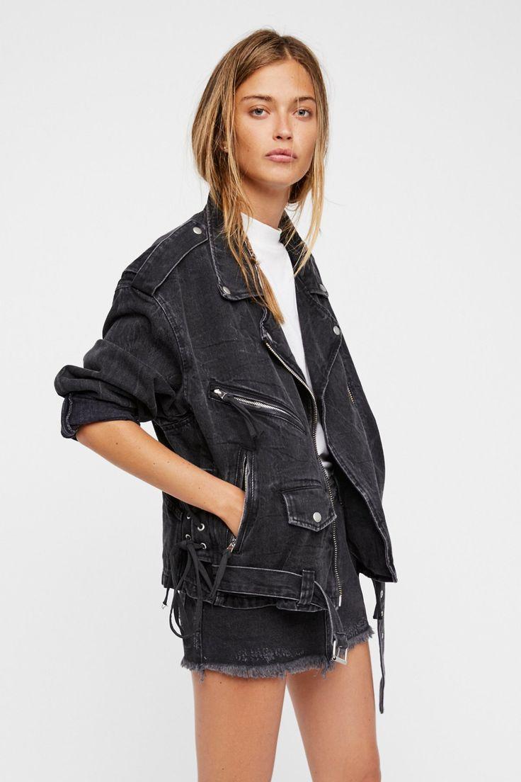 Oversized Denim Moto Jacket