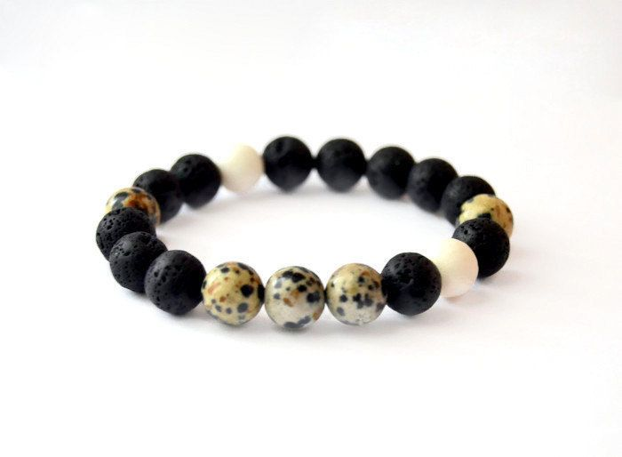 Lava, Dalmatian Jasper, White Coral beaded bracelet. Unisex mala bracelet