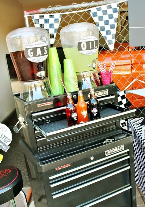 Awesome Monster Jam Truck Party! {Boys Birthday}Awesome drink station on toolbox idea