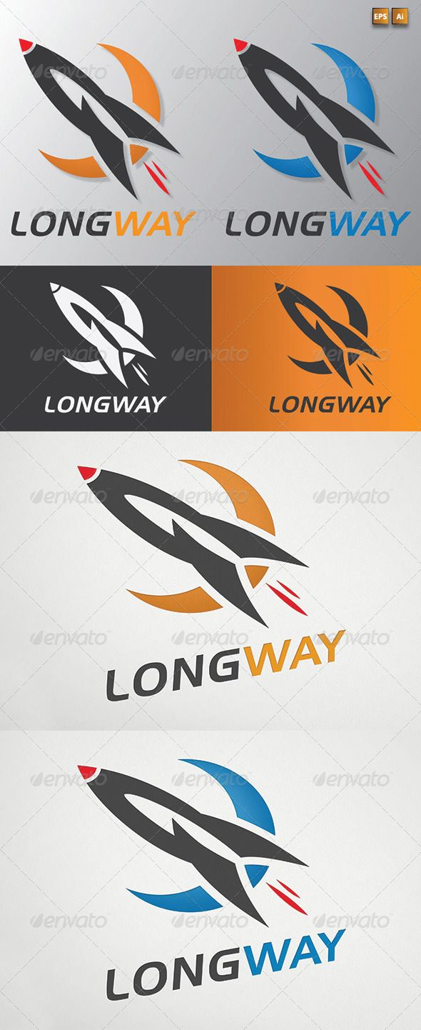 LongWay Rocket Logo Template — Vector EPS #research #construct • Available here → https://graphicriver.net/item/longway-rocket-logo-template/2687827?ref=pxcr