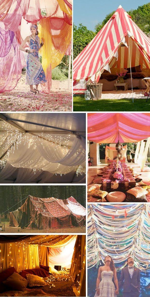 Something about a fun, airy tent with cushions and a picnic..