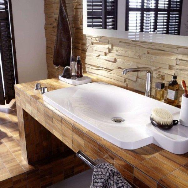 exceptional badezimmer waschtisch ideen #2: Holz Mosaik Fliesen-badezimmer fliesen ideen