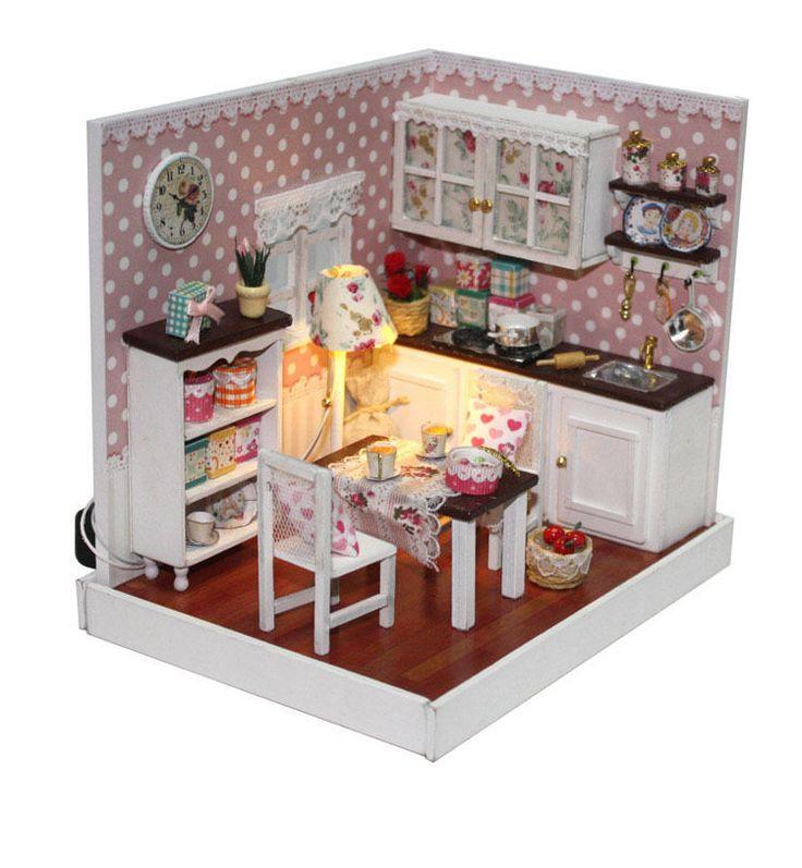 Wooden Dollhouse Miniature Model DIY Kit House decor Minimalist kitchen   #Unbranded