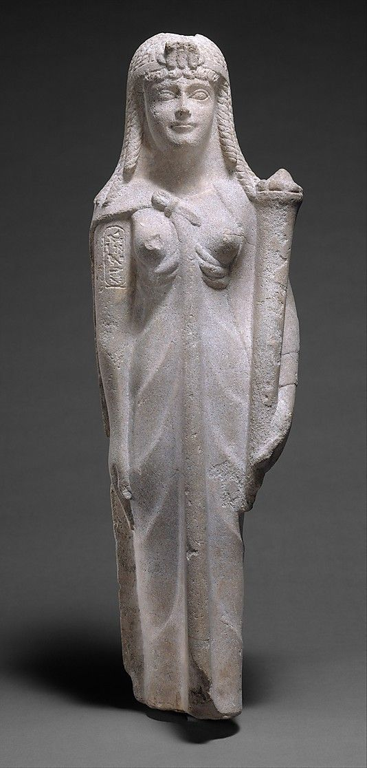 Statue of a Ptolemaic Queen, perhaps Cleopatra VII Metropolitan  Museum Period:     Ptolemaic Period Dynasty:     Ptolemaic Dynasty Date:     200–30 B.C. Geography:     Country of Origin Egypt Medium:     Limestone (Dolomitic meta-limestone, per analysis)