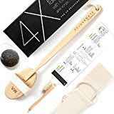 Luxurious All Natural Dry Body Brushing & Face Brush Bundle - Long Detachable Handle with Natural Boar Bristles - Shower & Bath Brush to Treat Cellulite, Exfoliate Skin, Lymphatic Drainage
