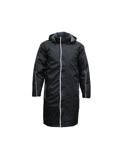 The knee-length Sideline Jacket. Fantastic for...well...sidelines! Whether it's the reserves waiting for their call to the field, or the coaches, the managers, or for anyone that simply wants a decent length jacket, here it is.  Knee-length Heavyweight nylon outer Showerproof - 1000mm rating Full insulated lining Zip and dome front Zip-off hood (lined) Front hand-warmer pockets Draft-stopping sleeve cuffs Inside chest pocket Embroidery access