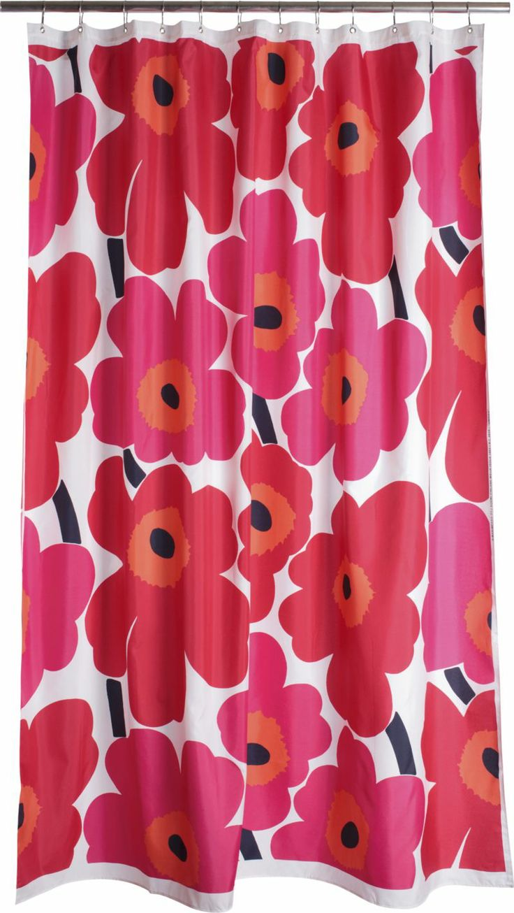 marimekko unikko red shower curtain in bed and bath crate and barrel