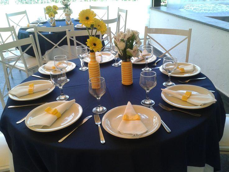 decoracao de casamento azul e amarelo simples : decoracao de casamento azul e amarelo simples: convidados